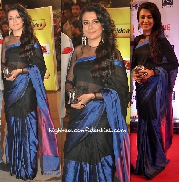 filmfare awards 2014-mini mathur: black and blue colorblock saree with sheer sleeved blouse