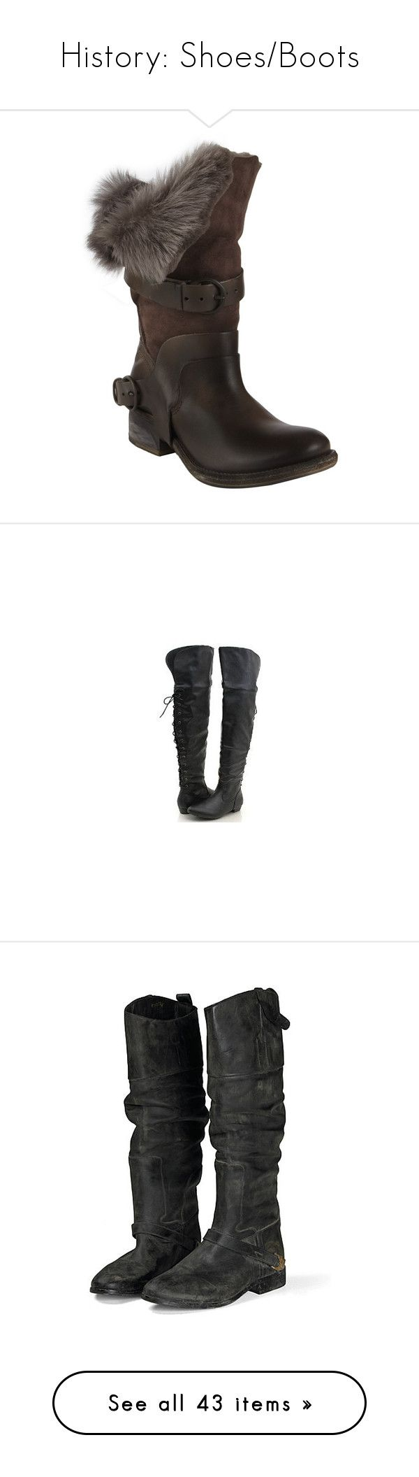 """""""History: Shoes/Boots"""" by h0rlly ❤ liked on Polyvore featuring shoes, boots, women, slouch boots, high leather boots, high boots, rubber sole boots, high low boots, medieval and sapatos"""