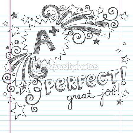 плюс большой оценок учащихся обратно в школу схематично ноутбука рисунками с надписями, падающие звезды и элементы дизайна сучки рисованной ...