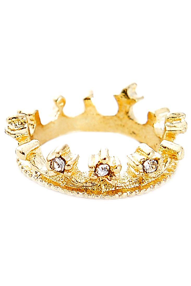 The antique metallic ring featuring crown pattern. Rhinestone ornate.