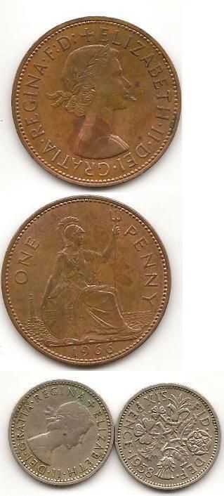 Pre - decimal British coins: The old Penny, and the Sixpence (aka - the 'Tanner').  This was the old 'Imperial' coinage that we used before decimalisation in 1971. As well as these we had other coins coins with great names, like the Farthing (a quarter penny); Ha'penny (half penny); Thrip'ny (three penny); Bob (shilling: twelve pennies); Florin (two shillings)
