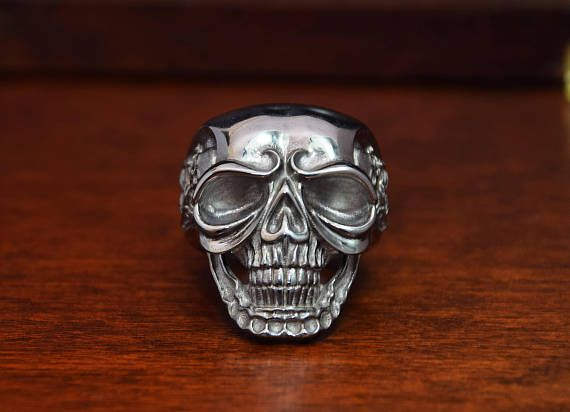 Most detailed skull jewelry... STERLING SILVER Ring. Black Rhodium design. ALL RING SIZES AVAILABLE!