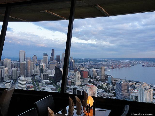 Seattle space needle restaurant   view of Seattle from Space Needle  Restaurant    1199 best Places   Seattle   Washington Lifestyle images on  . Dinner Seattle Space Needle. Home Design Ideas