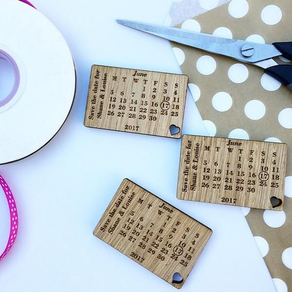 Wooden Save the Date Magnet – Rustic Calendar Wedding Announcement - Save The Date - Manta Makes - About to be Hitched