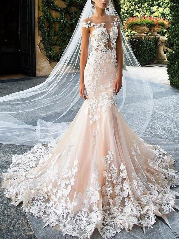 Blush Pink Lace Applique Backless Mermaid Wedding Dresses Ab1501 Backless Mermaid Wedding Dresses Wedding Dresses Mermaid Wedding Dress
