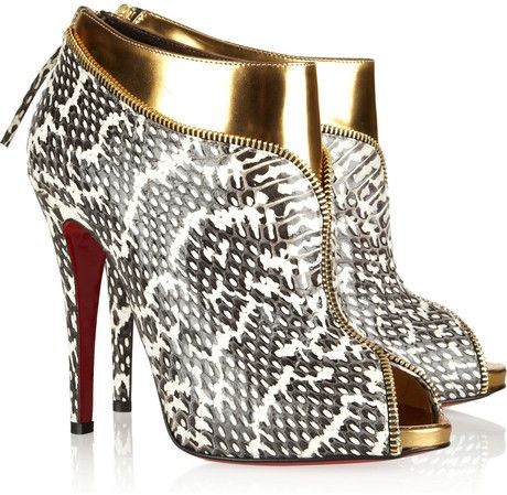 Leather and Water Snake Ankle Boots by Christian Louboutin