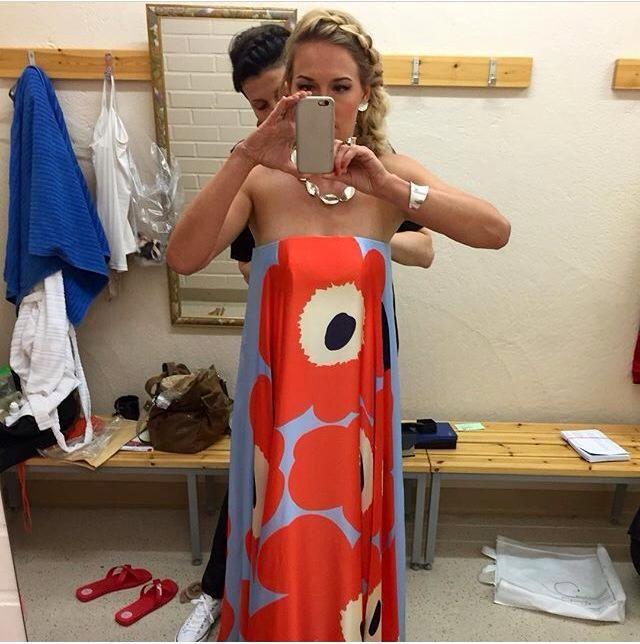 Behind the scenes shot. Jewelry: Juha Koskela Design | Piia Pasanen | Seinäjoen Tangomarkkinat 2015 #juhakoskela #piiapasanen #finnishdesign #tangomarkkinat #marimekko