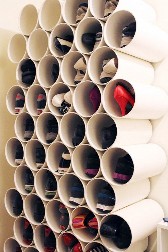 PVC pipe - organise shoes on the cheap, can go as wide and high as you want. Good for small spaces.