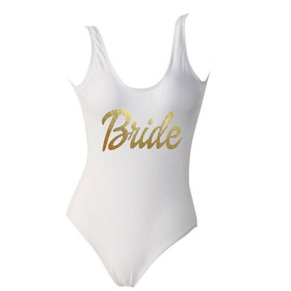 White and Gold BRIDE One Piece Swimsuit Monokini by ADashofChic