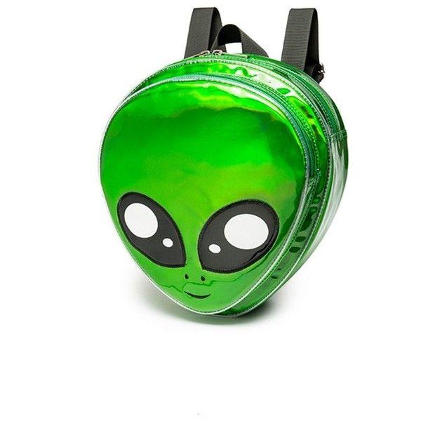Flada Alien Kopf Rucksack PVC Hologramm Frauen Rucksack Geldbörse … ($ 27) ❤ …