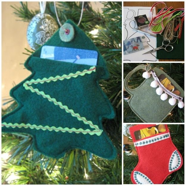 Felt Tree Ornaments / 24 Cute And Clever Ways To Give A Gift Card