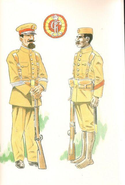 GUARDIA COLONIAL DE GUINEA.Sobre 1912.  Sargento en uniforme de formación - Cabo indigena en uniforme de formación