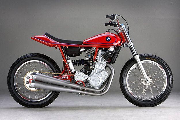 BMW F800 custom flat tracker built by Ron Wood.