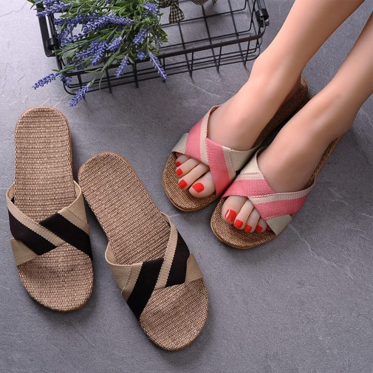 Summer 13 Colors Flax Home Slippers Women 35-45 Large Size Slapping Beach Flip Flops Non-slip