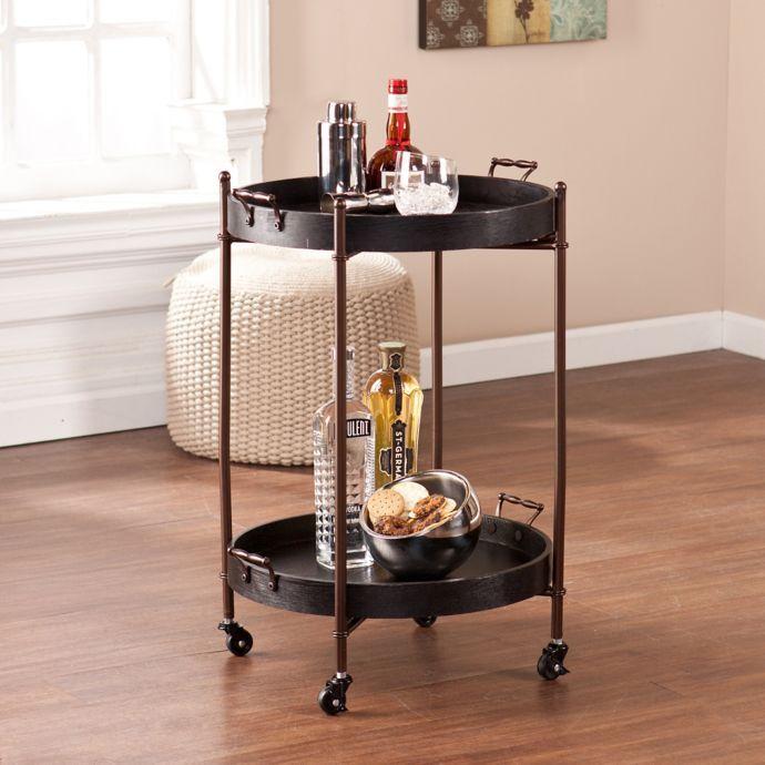 Southern Enterprises Alfred 2 Tier Round Butler Serving Cart In Black Bed Bath Beyond In 2019 Butler Table Bar Cart Decor Serving Cart