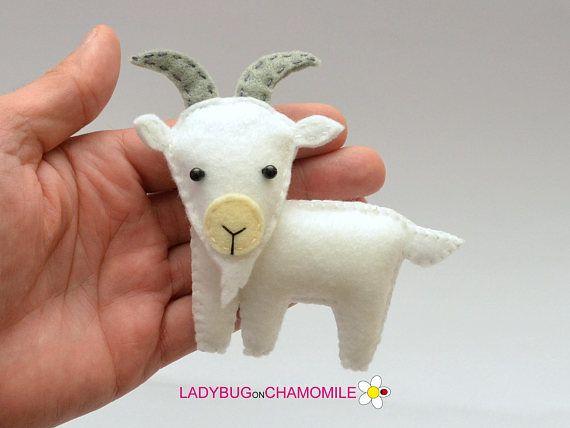 Felt GOAT stuffed felt Goat magnet or ornament Goat toy