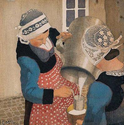 Laitière bretonne, Peinture de Carl Moser