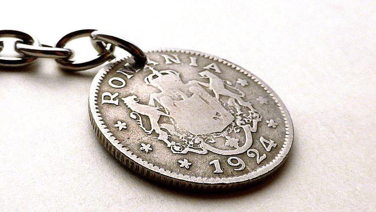 Romanian, Purse charm, Keychain, Gift for her, Women's accessories, Handbag charm, Coin charm, Coin keychain, Charms, Accessories, 1924 by CoinStories on Etsy