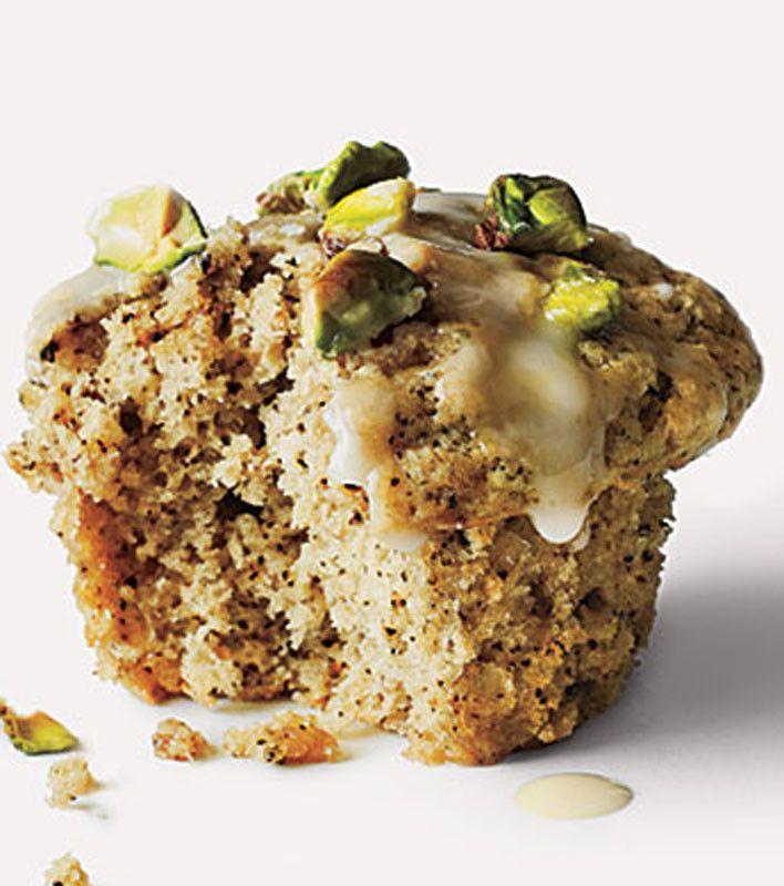 Pistachio-Chai Muffins- Will make these healthier. Whole wheat flour, coconut palm sugar, no glaze...