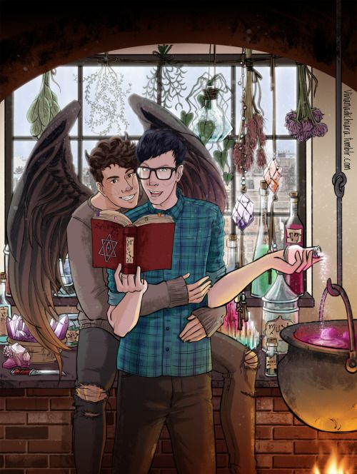 "Another fan art inspired by a reeeeeally cute Phanart *^* which is """"Ride With the Moon In the Dead of Night"" by mooksie01!!! where Phil is a witch (can you tell I'm obsessed with witches ^^''?!) and Dan is a Demon!! It's really cute….<3   You can find it here  I put this illustration on my redbubble as well, if you want to check it out XD  here <3"
