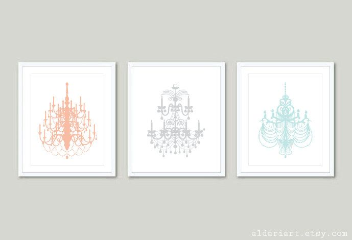 Wall Art Pastel Colours : Chandelier art prints wall set of