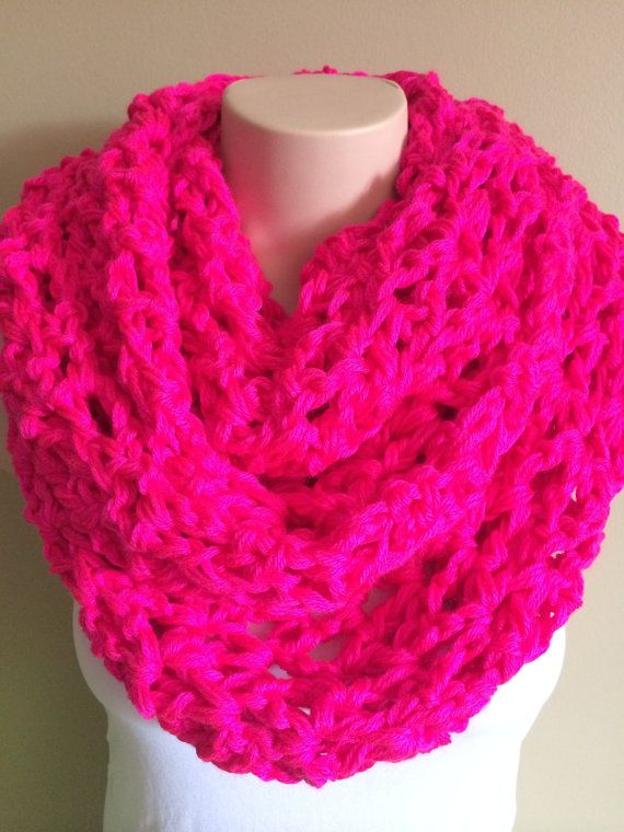 iScarf  Long Crocheted Infinity Scarf  Neon Pink by iHooked, $30.00