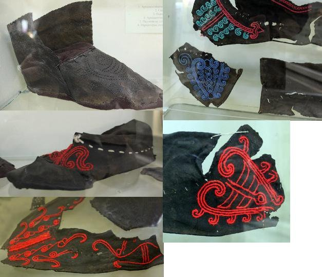 13th century Rus shoes showing the decorative embroidery through the holes in the leather