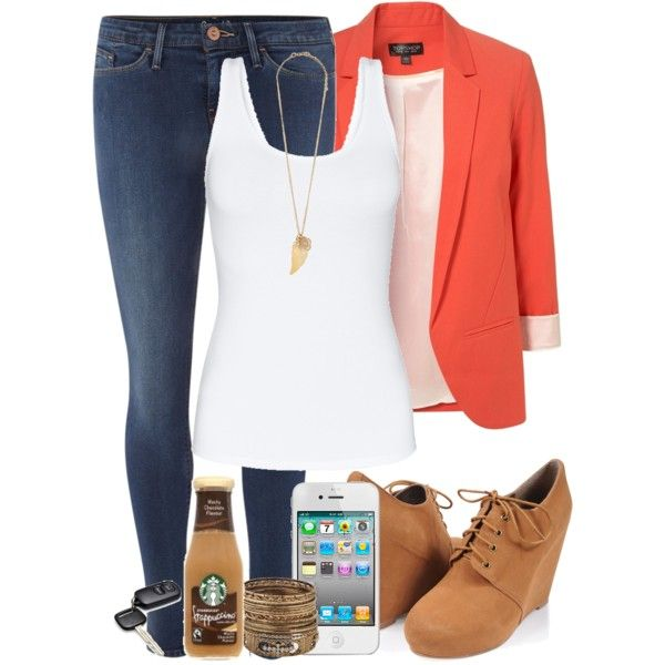 simple; classy; love!  Coral Blazer Spring Outfit, created by lolomonroe on Polyvore