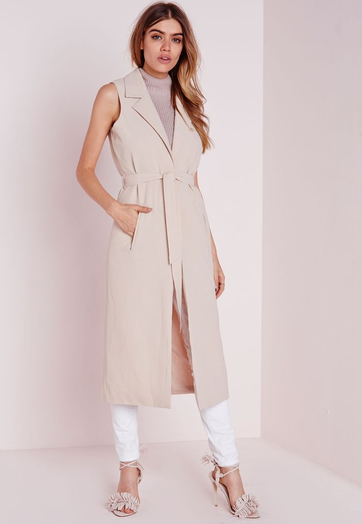 Missguided - Sleeveless Belted Longline Duster Coat Nude