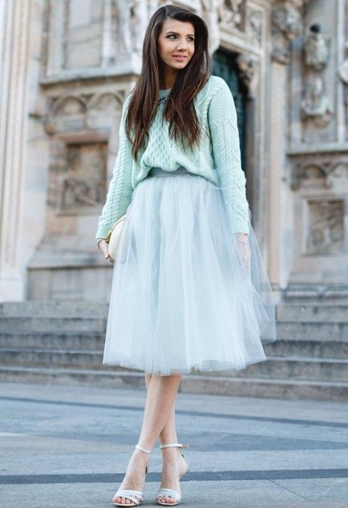 пастельная гамма, пышная юбка из тюля, летний светлый джемпер, модные вещи весна лето, вязаная мода весна лето 2015, модные тренды весна лето 2015, уличная мода весна лето, street style, MsKnitwear, Knitwear (фото 7)