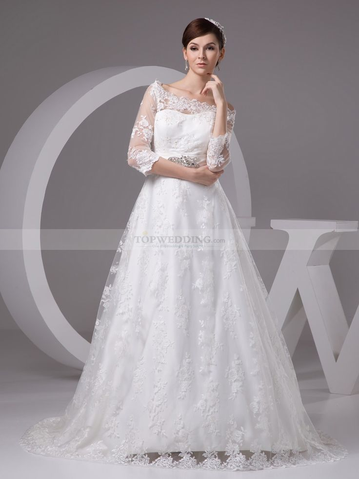 Three Quarter Sleeveed A Line Lace Wedding Dress with Rhinestone Belt