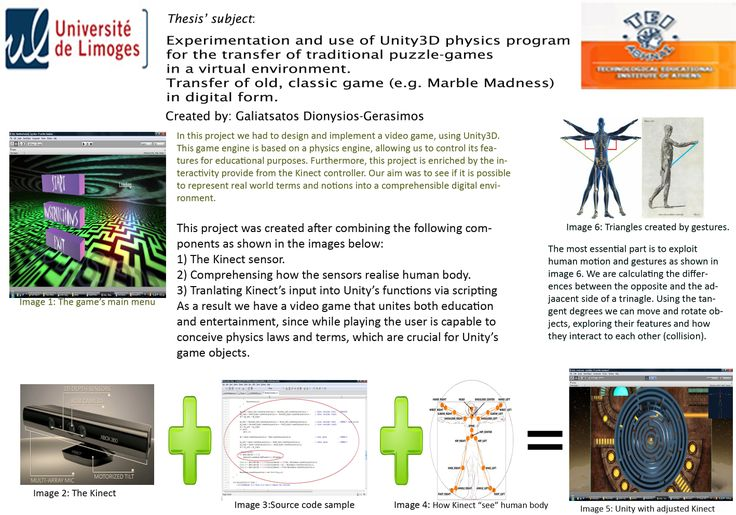 #poster #master ISICG TIM  Experimentation & use of #Unity3D physics program for tranfer of tranditional puzzle-games in a virtual environemnt