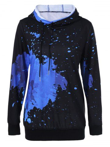Splatter Paint Drawstring Hoodie - BLUE/BLACK XL Mobile