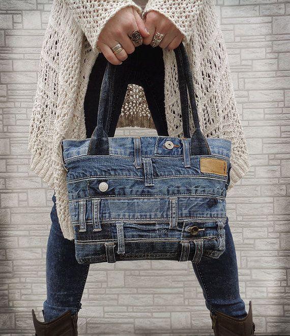 Jeans Handtasche Tasche recycelten gequält Grunge-rock von BukiBuki