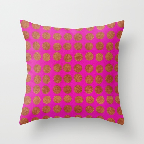 Gold Dots_Fuschia Throw Pillow