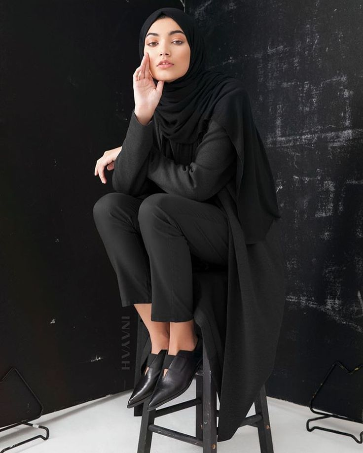 Charcoal Jersey Blazer Black Rayon Blend Jersey Hijab Black Straight Leg Trousers | Inayah.co