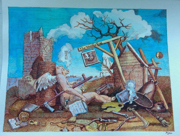 Remake of W. Hogarth , watercolor and ink by Kyra Munk Matustik