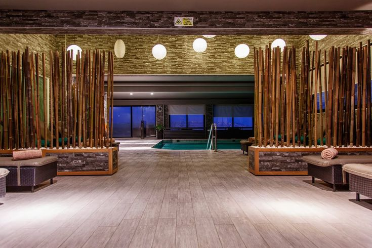 Swiming Pools Bamboo Wall Design With Ceiling Fans With Lights Also Indoor Pools And Pink Towels Besides Ceiling Lights  Wooden Bed Sauna  Ceiling Access Panel  Hand Rails  Wall Sign  Wooden Flooring Design   The Benefit in Having Amazing Indoor Pools