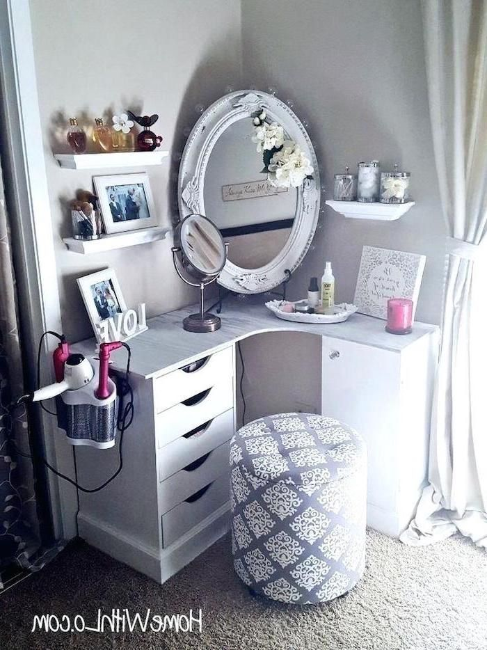White Wooden Corner Dressing Table With Drawers Vintage Mirror Grey White Ottoman In 2020 Corner Dressing Table Diy Vanity Mirror Makeup Vanity