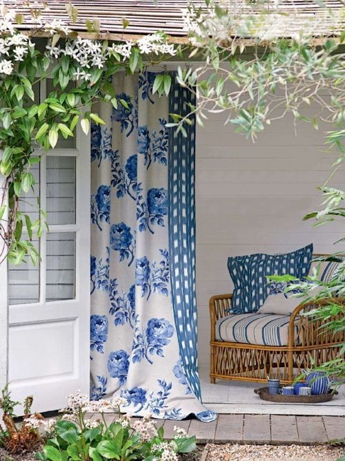 Love and looking for miles of fabric in mostly white with blue flowers for my wall of drapes.