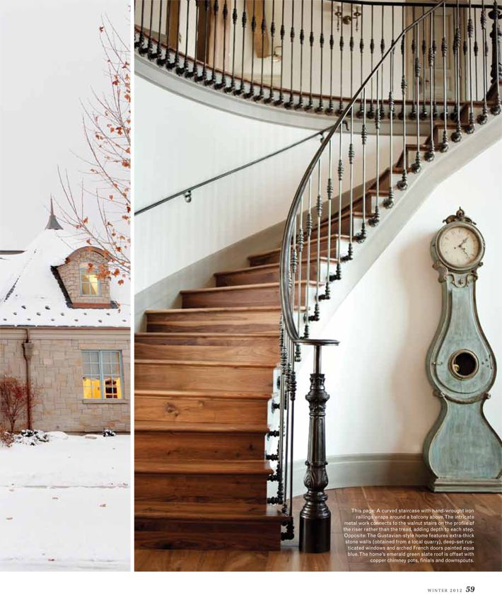 Elegant Love A Grand Wood And Metal Staircase   And Gustavian Clock