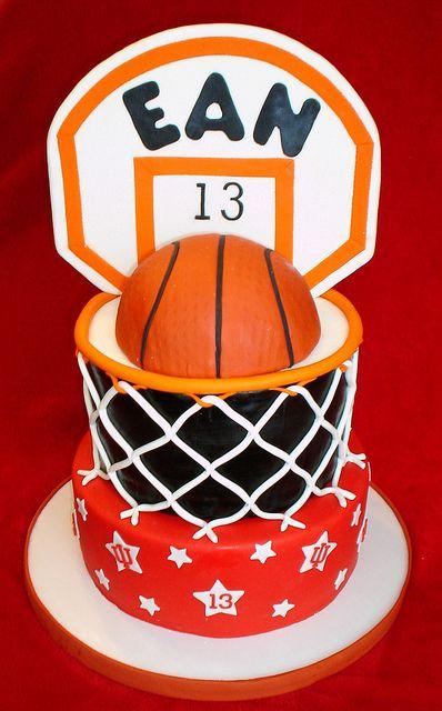 Basketball hoop cake