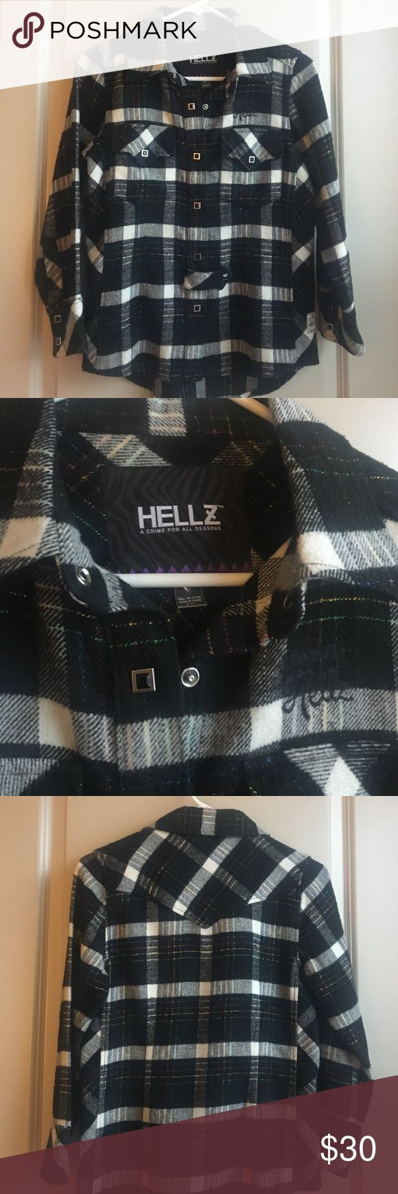 Hellz Bellz Black Flannel Black flannel by streetwear brand Hellz Bellz. 100% cotton, very warm. Unique snap buttons & blue, red, yellow & green detailing on flannel. Won't find anything like it! Aritzia Tops Button Down Shirts