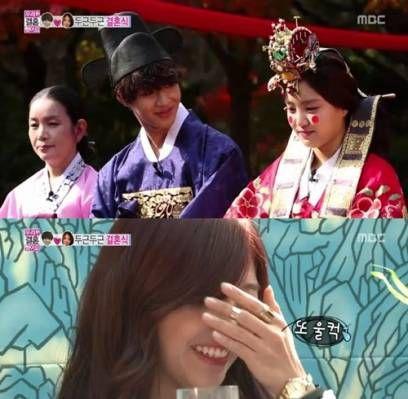 Taemin and Na-Eun have a traditional Korean wedding with Kai, Suho, and Eunji on 'We Got Married' | http://www.allkpop.com/article/2013/11/taemin-and-na-eun-have-a-traditional-korean-wedding-on-we-got-married