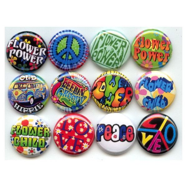 """FLOWER POWER Child Peace Love HIPPIE 12 Pinback 1"""" Buttons Badges Pins ($12) ❤ liked on Polyvore featuring accessories, fillers and graphics"""