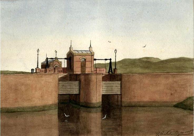 Petrus Paulus Schiedges jr. (1860-1922) De zeesluis in het Afvoerkanaal (het zgn. Verversingskanaal) aan de Kranenburgweg bij de latere Zeesluisweg. In de duinen rechts staat nu Duindorp, 1889