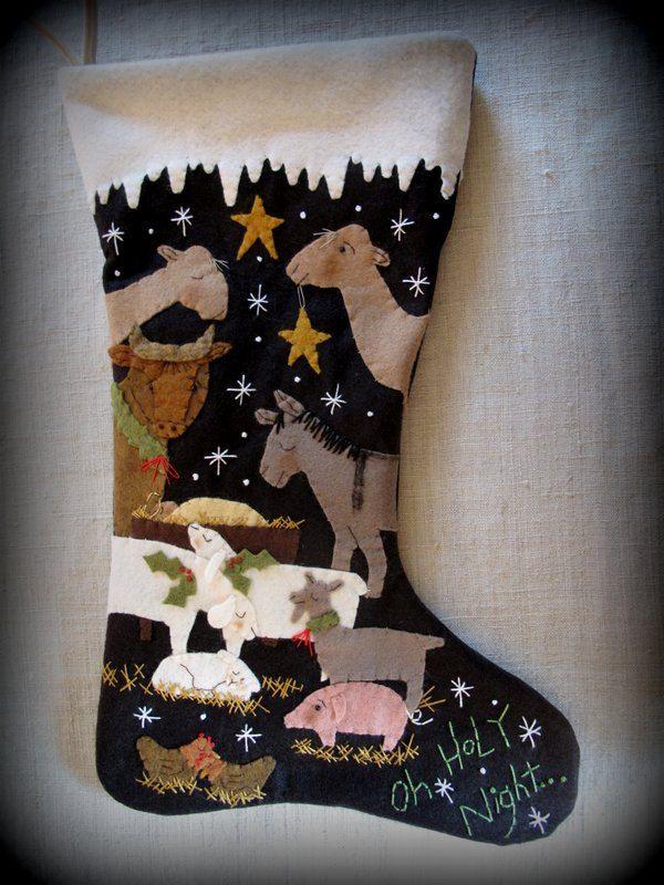 FINISHED PIECE Oh Holy Night Christmas Stocking by cheswickcompany by cheswickcompany on Etsy