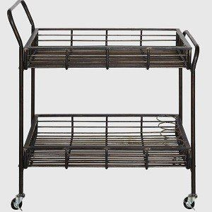 Rolling Bar Cart With Bottle Holders