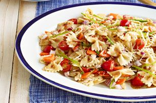 Fresh Veggie Pasta Salad recipe. I am not a pasta salad fan but I made this one for a wedding shower and I love it.