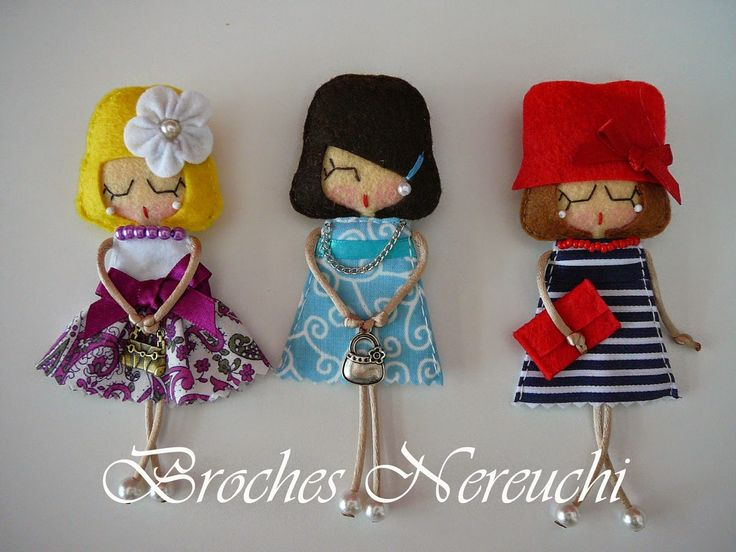 felt dolls, broaches, necklaces...could these be any cuter?